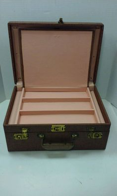 Vintage Brown Jewelry Box Light Pink 2-Tier Lined + Key
