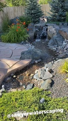 Small Backyard Landscaping, Ponds Backyard, Small Patio, Backyard Ideas, Decorative Rock Landscaping, Dry Riverbed Landscaping, Landscaping With Large Rocks, Backyard Stream, Waterfall Landscaping