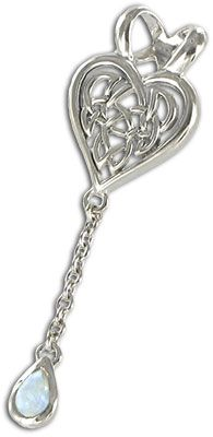 Romantic Knotwork Celtic Pendant with a shimmering rainbow moonstone.