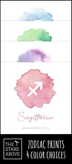 This stunning Watercolor Zodiac Wall Art featuring the Sagittarius Sign comes printed on a gorgeous matte poster in a variety of sizes and colors. Free shipping in the US ... check us out.    #constellations #stunning #beautiful #artwork #poster #homedecor #zodiacsigns #zodiac #watercolor  #colorful #styles Astrological Symbols, Zodiac Signs Sagittarius, Cute Drawings, Constellations, Beautiful Artwork, Colorful, Watercolor, Map, Free Shipping