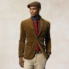 A lush brown corduroy jacket can you give you a very smart but casual look Sports Jacket With Jeans, Blazer With Jeans, Casual Blazer, Blazer Outfits, Brown Blazer, Mens Fashion Blazer, Preppy Mens Fashion, Male Fashion, Brown Corduroy Jacket