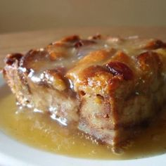 Bread Pudding with Whiskey Sauce  - It's great for breakfast or dessert and is delicious with milk poured on top!