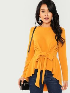 Shop Self Belted Asymmetrical Hem Top online. SHEIN offers Self Belted Asymmetrical Hem Top & more to fit your fashionable needs. Fashion Mode, Hijab Fashion, Fashion Outfits, Womens Fashion, Jeans Fashion, Fall Outfits, Style Fashion, Fashion Trends, Mode Ootd