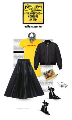 """""""Do not read the next line... You little rebel, I like you"""" by blonde-bedu ❤ liked on Polyvore featuring Oris, Vetements, Moschino, Dice Kayek and Yves Saint Laurent"""