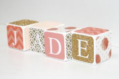 **********PRICE IS PER BLOCK**********    Custom Baby Blocks made to order. Great for baby shower gifts and nursery décor. Any custom color or