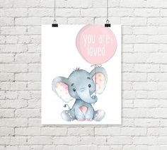 Baby Elephant Nursery Print You Are Loved by justprintablesxoxo