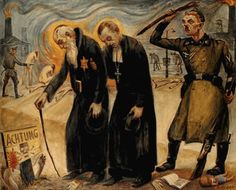 Priest and Rabbi by David Olère.162x131 cm, A Living Memorial to the Holocaust, New York.  In the background left, the SS Moll throws women into the burning pit close to crematorium V. On the right, four prisoners carry a barrel of soup past a crematorium (II or III)