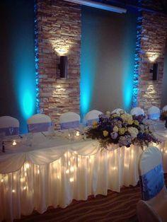 Blue wedding head table