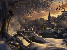 I made this slide show as O Holy Night is one of my favourite Christmas Songs and it's sung so beautifully by Josh Groban. Winter Christmas Scenes, Christmas Art, Kino Berlin, Animated Christmas Pictures, Thomas Kinkade Christmas, Kinkade Paintings, Christmas Crafts To Sell, Winter Wallpaper, Vintage Christmas