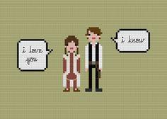 Pixel People Quoteables - Han & Leia - PDF Cross-stitch PATTERN. $5.00, via Etsy.