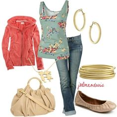 Casual Comfort Clothing. no bangles. different purse and flats