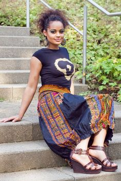 Black dashiki pump skirt  black gold africa shirt