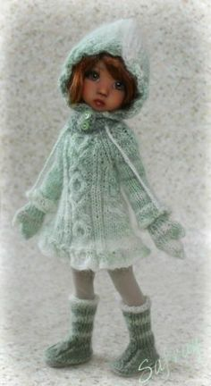 """Mittens IN Green"" Ooak Ensemble FOR Kaye Wiggs Millie Tillie 27cm Slim BJD 