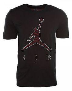 c7e912938e4f Nike Jordan Jumpman Burnout T-Shirt Mens 724999-010 Black Red Logo Tee Size