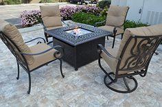 "Santa Anita Outdoor Patio Chairs Set and Square 42″ Fire Pit Coffee Table Dark Bronze Cast Aluminum Sunbrella Cushions  1 Elizabeth Universal Fire Pit Coffee Table Square 42"" x H 25"" (Fire Glass and Propane Tank Not Included)4 Santa Anita Regular ChairsChair Dimension: Total Size W26.5"" x D32.5"" x H41"", Seat Size W19"" x D22"" x H15""  http://outdoorgear.mobi/product/santa-anita-outdoor-patio-chairs-set-and-square-42-fire-pit-coffee-table-dark-bronze-cast-aluminum-sunbrella-cushions/"