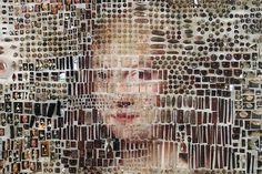 "Michael Mapes, Dutch specimen MT1639, 2013. 28""w x 34"" h x 3.5"" d. Photographic prints, insect pins, pinning foam, gelatin capsules, glass vials, painted canvas, cast resin, pill organizer, plastic specimen bags, cotton thread, costume jewelry, sequins. Dutch specimen MT1639, detail. Dutch specime"