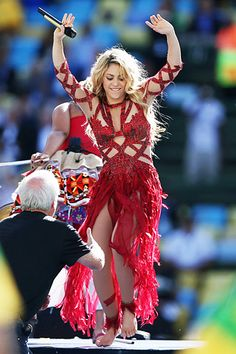 Shakira shook her always-truthful hips during the closing ceremony for the 2014 FIFA World Cup final match in Rio de Janeiro, Brazil.