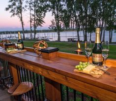 Bar extends length of Deck with pull out seating - River View http://www.paradiserestored.com/portfolio_item/froomer-property-2016/