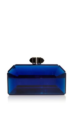 Faceted Cobalt Rectangle Speccio Clutch by Judith Leiber for Preorder on Moda Operandi