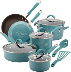 Rachael Ray 16344 Cucina Nonstick Cookware Pots and Pans Set, 12 Piece, Agave Blue Every kitchen needs good cookware, and it doesn't get much prettier than this wonderful set from Rachel Ray! I'm so in love with this color, you'll want . Enamel Cookware, Cast Iron Cookware, Cookware Set, Rachel Ray, Malang, Surabaya, Pasta Pot, California Pizza Kitchen, Pots And Pans Sets