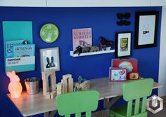 A corner of K's room. ✨✨full room makeover up soon!!! happy weekend! ikea desk #harfnoondesignstudio #littleman #bigboy#makeover #blue #indigo #white #red #color #superkid #camera#animals #moose #fun #interiors #boyrooms#instainteriors #instadecor #instalikes #dubai #uae#abudhabi #homedecor #homedesign #kidsrooms#middleeast