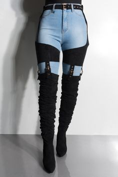 We're losing our minds over these boots! The AZALEA WANG Almost Lost Your Mind Belted Thigh High Chunky Heel Chap Boots are the stars of the show. Made of a faux suede material, over the knee fit and attached thigh chaps and cinched belt, this boot is mea Edgy Outfits, Mode Outfits, Fashion Outfits, Womens Fashion, Fashionable Outfits, Fashion Clothes, Fashion Fashion, Fashion Trends, Mode Kawaii