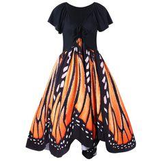 Wholesale Plus Size Butterfly Print Swing Dress 5xl Orange Online. Cheap Plus Size Swimdress And Plus Size Black Sheath Dress on Rosewholesale.com