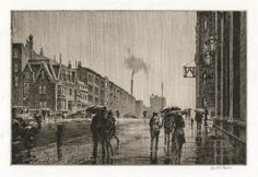 "Rain on Murray Hill, 1928 | Martin Lewis | Drypoint | ""The location is Thirty-fourth Street and Park Avenue. The old armory, now demolished, is on the right."" [source: www.oldprintshop.com] [zb]"