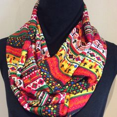 Colorful crepe infinity scarf Aztec scarf loop by SissyandTodo