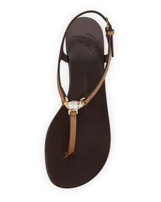 Giuseppe Zanotti Crystal Flat Thong Sandal