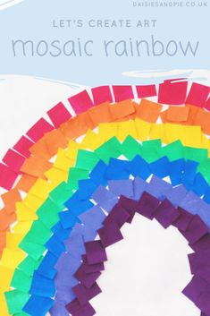 Create a gorgeous mosaic rainbow with this gorgeous art activity for kids, weather projects of kids, kids activities Rainbow Crafts Preschool, Weather Activities Preschool, Rainbow Activities, Art Activities For Kids, Color Activities, Spring Activities, Preschool Activities, Craft Kids, Crafts For Preschoolers