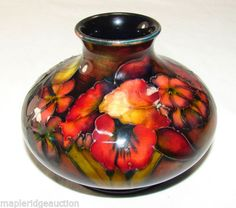 Vintage-MOORCROFT-Pottery-Orchid-Spring-Flowers-Vase-FLAMBE-RED