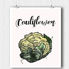 Kitchen Print - Vegetable Print - Cauliflower Watercolor Print - Printable Wall Art - 8 x 10 Minimalist Art - Wall Art- Instant Download PDF by ratitaprints on Etsy
