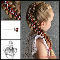 Four strand ribbon braids tied together with a ribbon. The cute cherry bobby pin is from the webshop www.goudhaartje.nl (worldwide shipping).   Hairstyle inspired by: @winterhair (instagram)  #ribbonbraid #bigbraid #bobbypins #hair #haar #vlecht #vlechten #hairstyle #braid #braids #hairstylesforgirls #plait #trenza #peinando #lovely #beautifulhair #gorgeoushair #stunninghair #hairaccessories #hairinspo #braidideas #amazinghair #hairfashion #goudhaartje