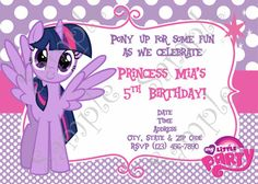 My Little Pony Birthday Party Invitation, My Little Pony Princess Twilight…