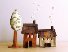 Miniature felt houses with tree Home decor Textil art by Intres, $29.00