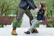 Dad and daughter walk by Vagengeim Little Girl Dancing, Little Girls, Family Stock Photo, Young Fathers, The Walking Dad, Music Headphones, Advertising Photography, City Streets, Casual Outfits