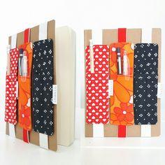 Kynäkoteloita vihkoon ja kalenteriin Crafty, Sewing, Fabric, Handmade, Gifts, Diy, Ideas, Paper, Bricolage