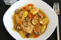Artichoke Chicken Rustigo ~www.oneshetwoshe.com #recipes #maindish