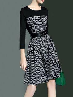 Shop Midi Dresses - Crew Neck Zipper Geometric Elegant 3/4 Sleeve Midi Dress online. Discover unique designers fashion at StyleWe.com.