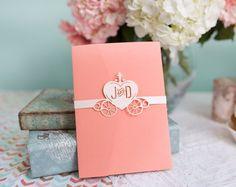 Cinderella carruaje - bandas de vientre de invitación de boda - boda Disney-juego de 10