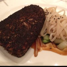 Ginger-teriyaki tuna steak with rice noodles from the Disney Fantasy.
