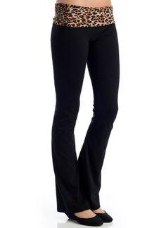 Leopard-Waist Yoga Pants