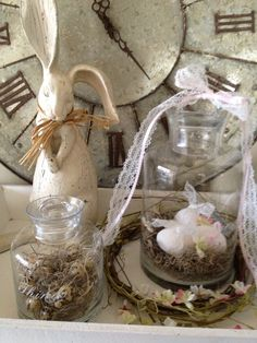 love this...the clock, bunny and bird nest