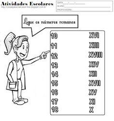 Atividades para Crianças: Ligue os Numeros Romanos