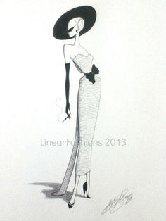 Fashion Illustration 1950s Cocktail Dress by LinearFashions, $40.00.
