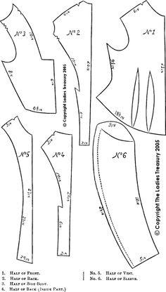 Free Pattern for a Lady's Violin Bodice - a Victorian era bodice with 'violin'-shaped seams, circa December 1874