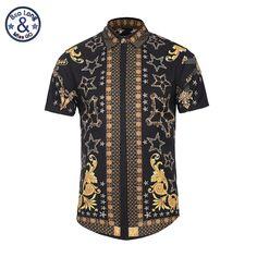 f312605c US $22.31 |Aliexpress.com : Buy 3D Printed Golden Floral Pattern Shirts Men  Pattern Casual Fancy Fit Slim Dress Shirt Camasia Social Masculina Brand ...