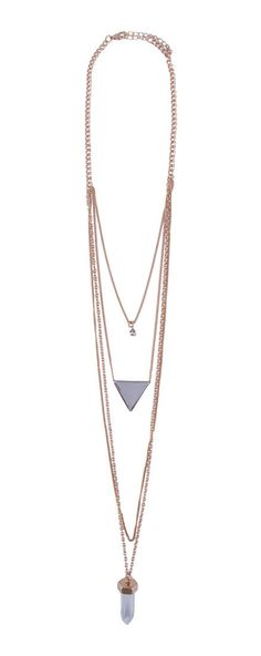 Shard And Triangle Pendant Layered Necklace by New Look. This edgy necklaces, features four necklaces in one, with a different lengths give a layering effect. This necklaces will go along with sporty or casual style. %0A http://www.zocko.com/z/JG0bD