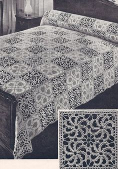 Vintage Crochet PATTERN to make - Bedspread Block Motif in Stepping Stones Filet and Wheel Design. NOT a finished item. This is a pattern and/or instructions to make the item only. Vintage Home Arts http://www.amazon.com/dp/B004GYFV28/ref=cm_sw_r_pi_dp_-Uizwb06FD7FX